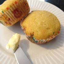 corn muffins, butter